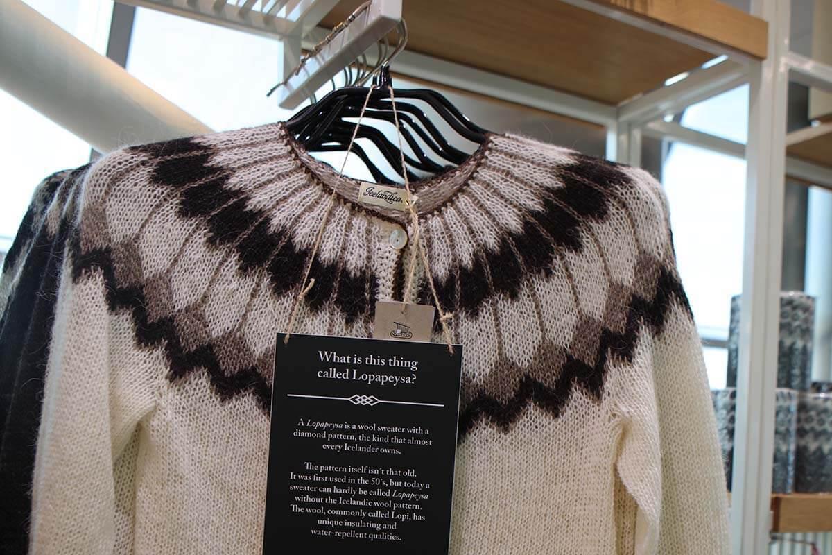 Icelandic wool sweater lopapeysa in a shop in Reykjavik