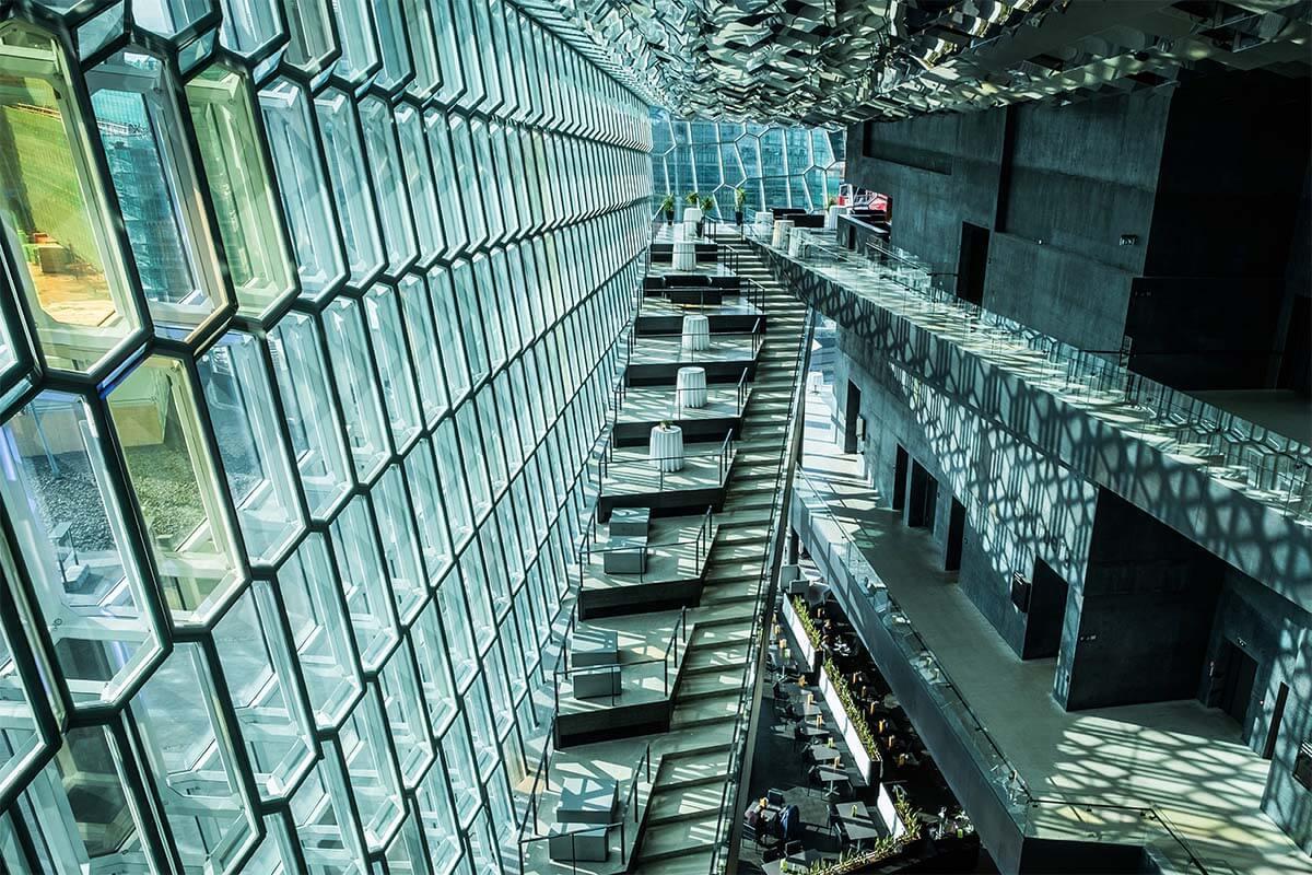 Interior architecture of Harpa concert hall in Reykjavik