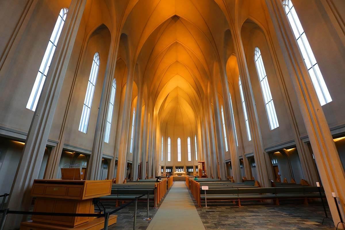 Interior of Hallgrimskirkja church in Reykjavik