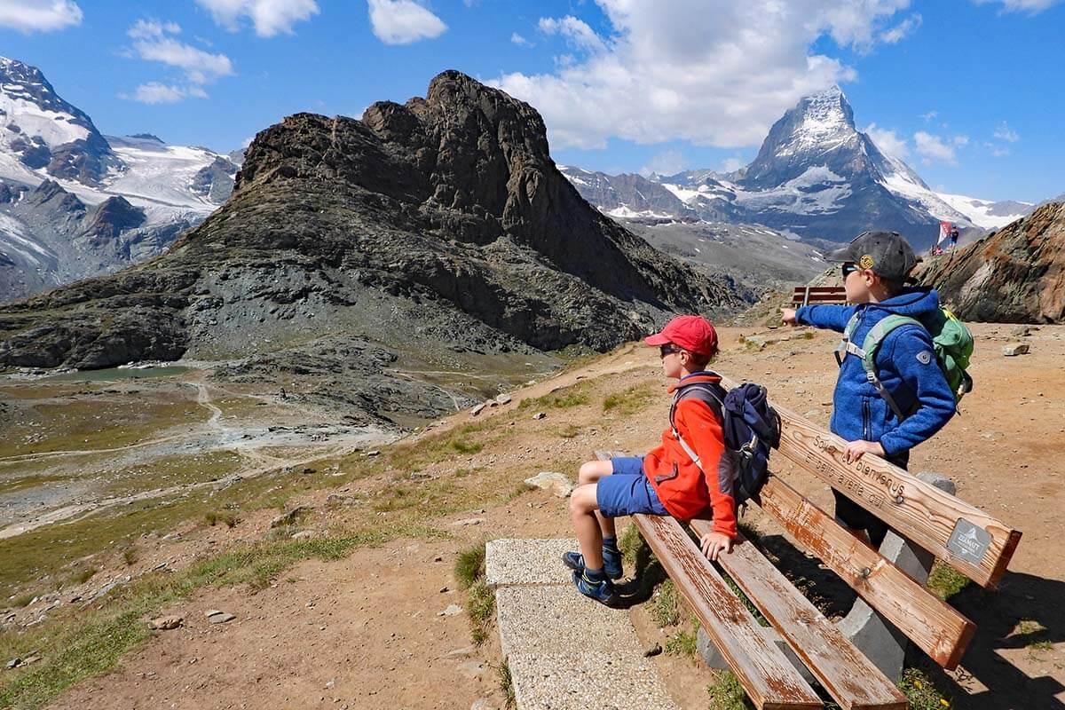 Kids enjoying the view near Rotenboden train station in Zermatt Switzerland