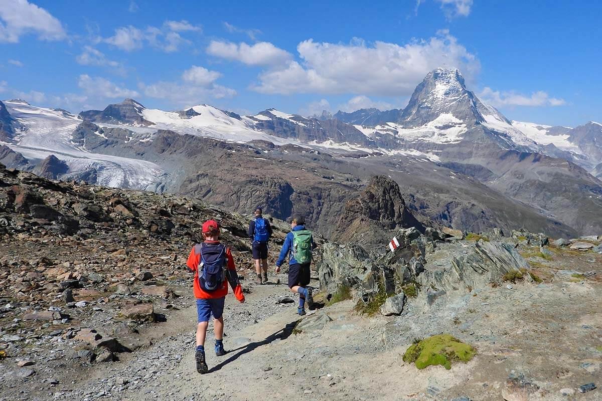 Kids hiking at Gornergrat in Zermatt Switzerland