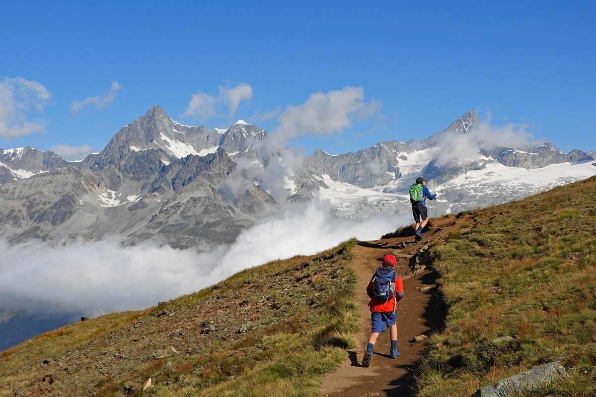 Kids hiking trail 21 between Rotenboden and Riffelberg in Zermatt Switzerland