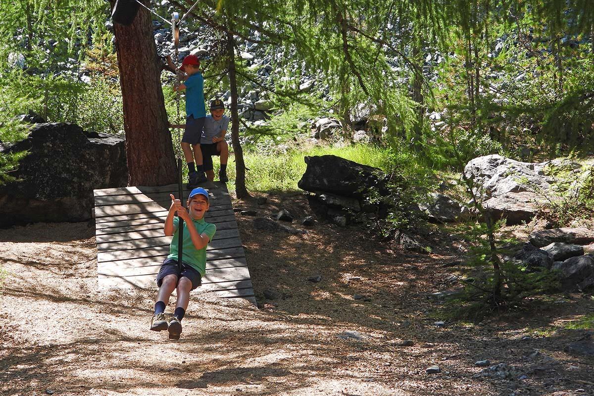 Kids playground at Furi suspension bridge near Zermatt