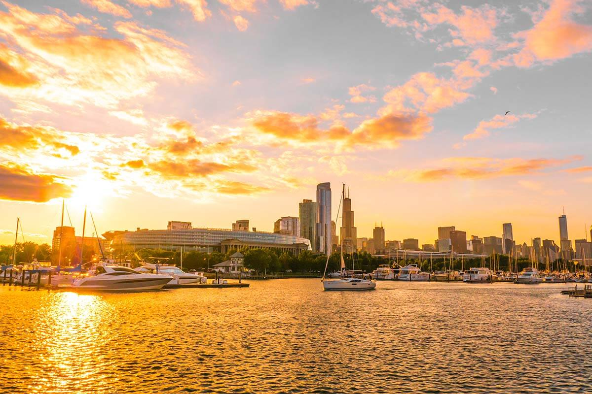 Lake Michigan and Chicago Skyline at sunset