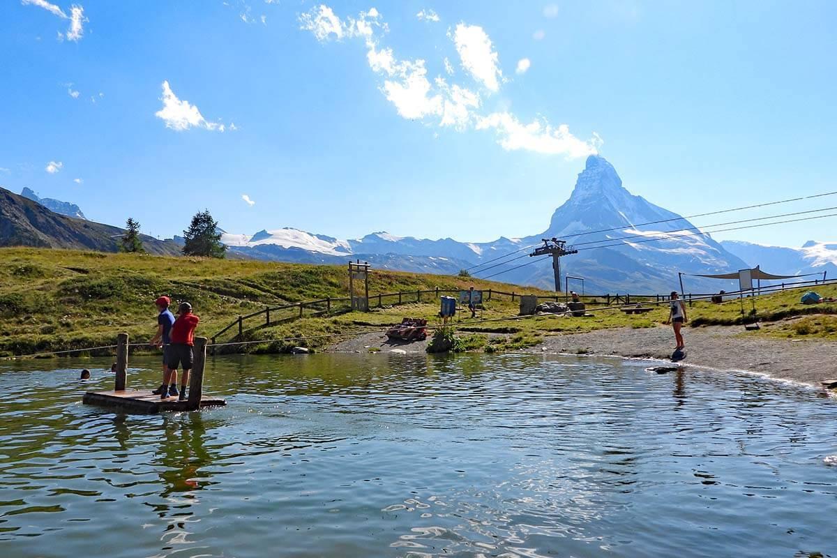 Leisee lake, aka Zermatt beach in summer