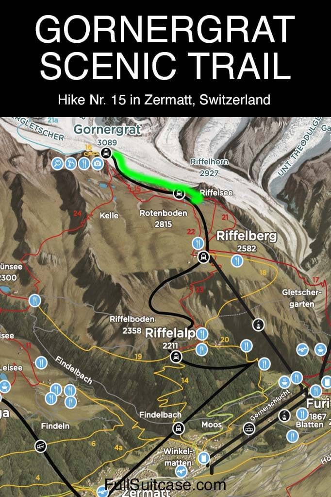 Map of Gornergrat Scenic Trail hike nr 15 in Zermatt, Switzerland