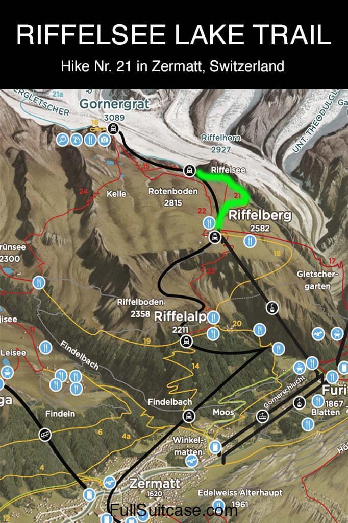 Map of Riffelsee Lake Trail hike nr 21 in Zermatt Switzerland