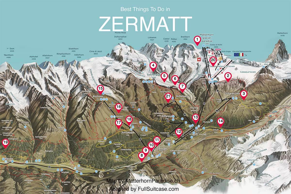 Map of the best places to see and top things to do in Zermatt