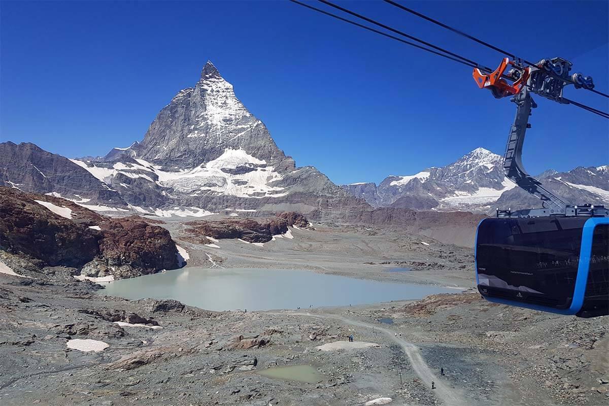 Matterhorn Glacier Paradise cable car and Matterhorn mountain.