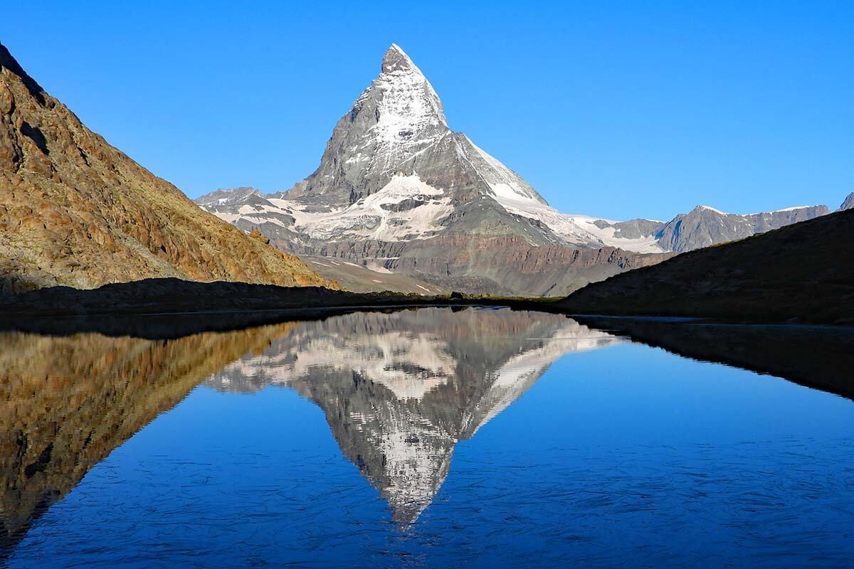 Riffelsee lake in Zermatt Switzerland
