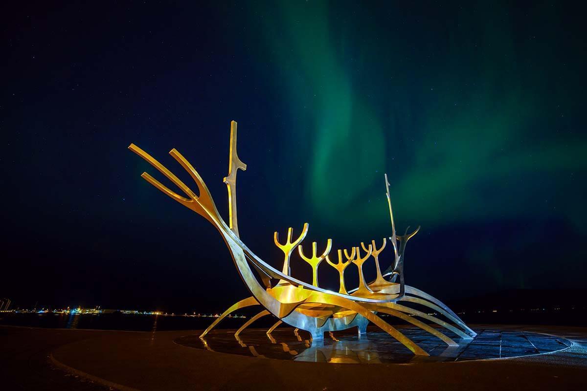 Northern Lights at Sun Voyager in Reykjavik