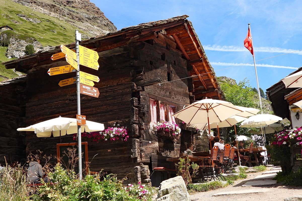 Restaurants in Zmutt village near Zermatt