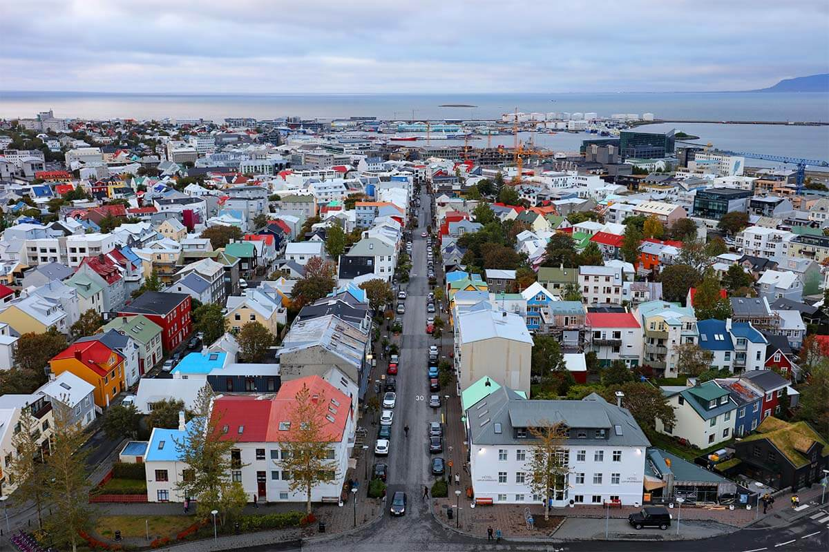 Reykjavik city view from Hallgrimskirkja church tower