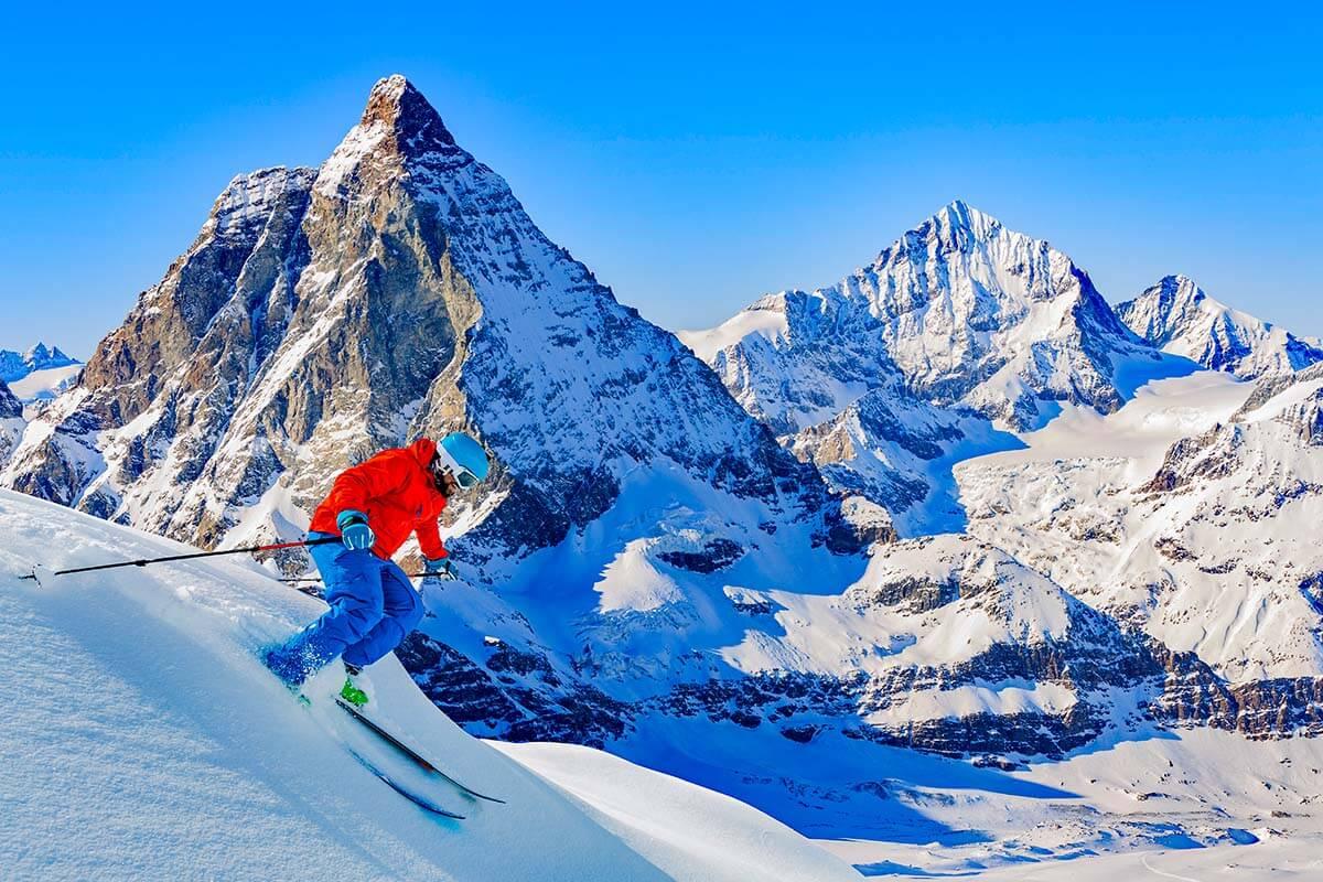 Skiing in Zermatt with a view of the Matterhorn