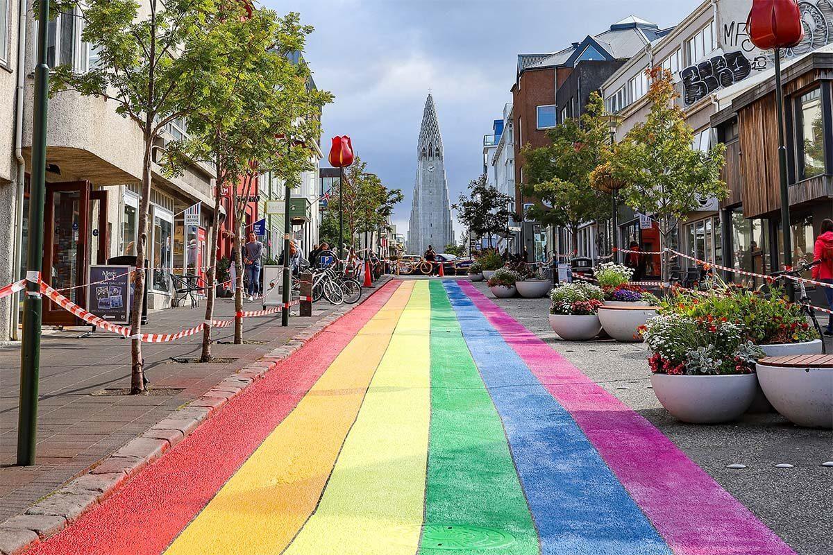 Skolavordustigur - rainbow street in Reykjavik