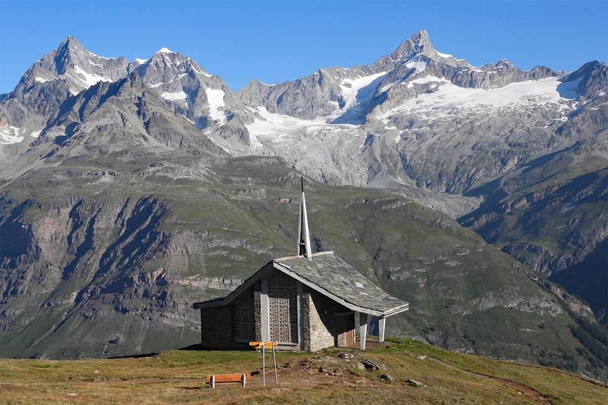 Small chapel at Riffelberg in Zermatt Switzerland (Bruder Klaus chapel)