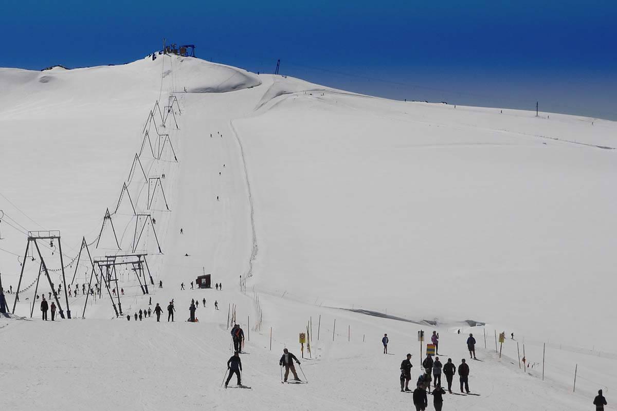 Summer skiing at Matterhorn Glacier Paradise in Zermatt Switzerland