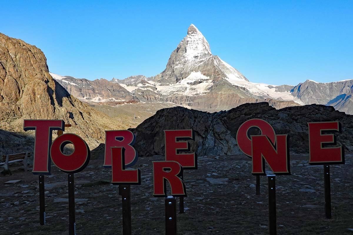 Toblerone letters and the Matterhorn at Rotenboden train station in Zermatt Switzerland