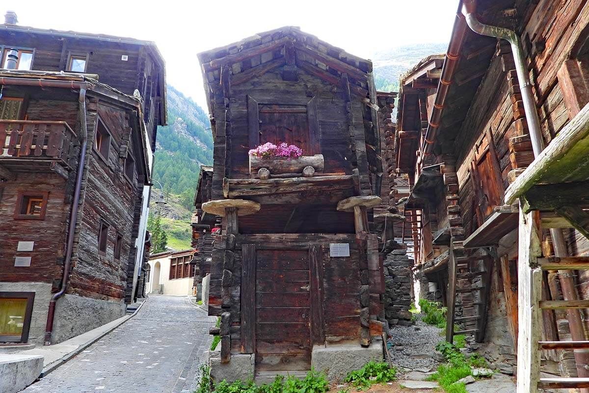 Traditional old houses in Hinterdorf, the Old Village of Zermatt