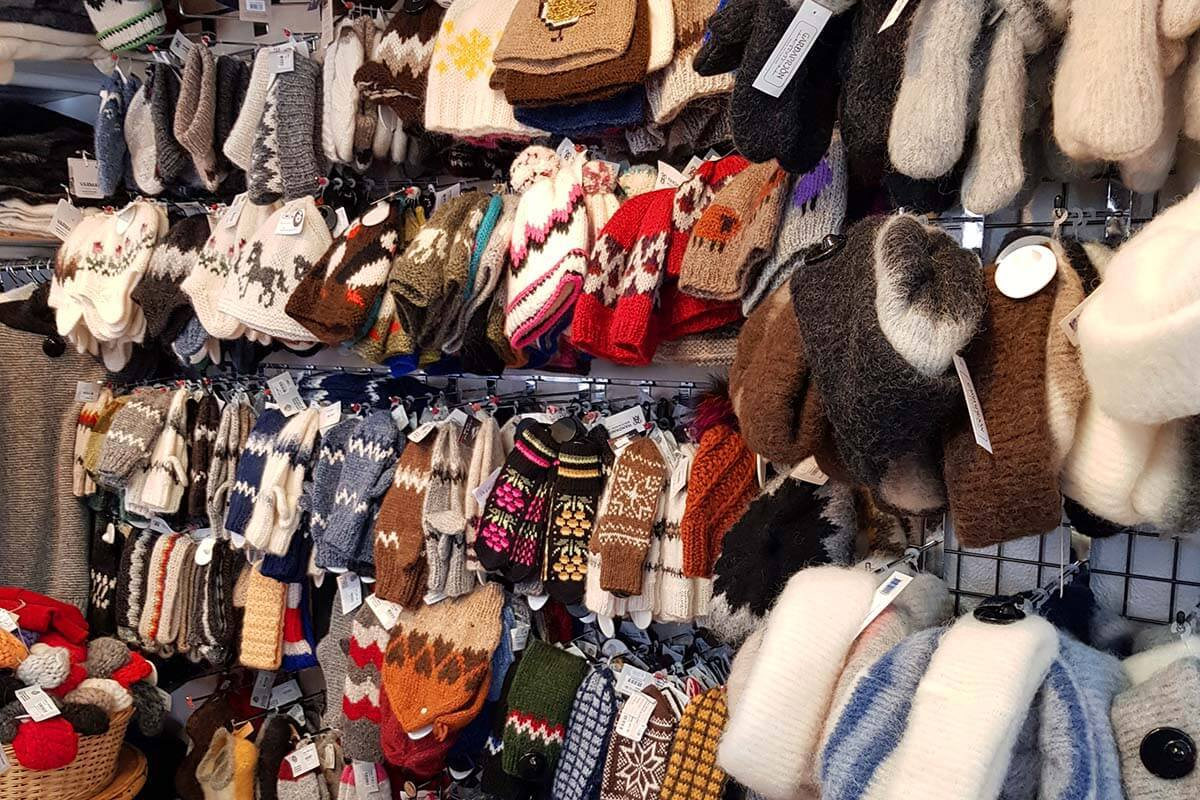 Wool hats and gloves for sale at The Handknitting Association of Iceland in Reykjavik