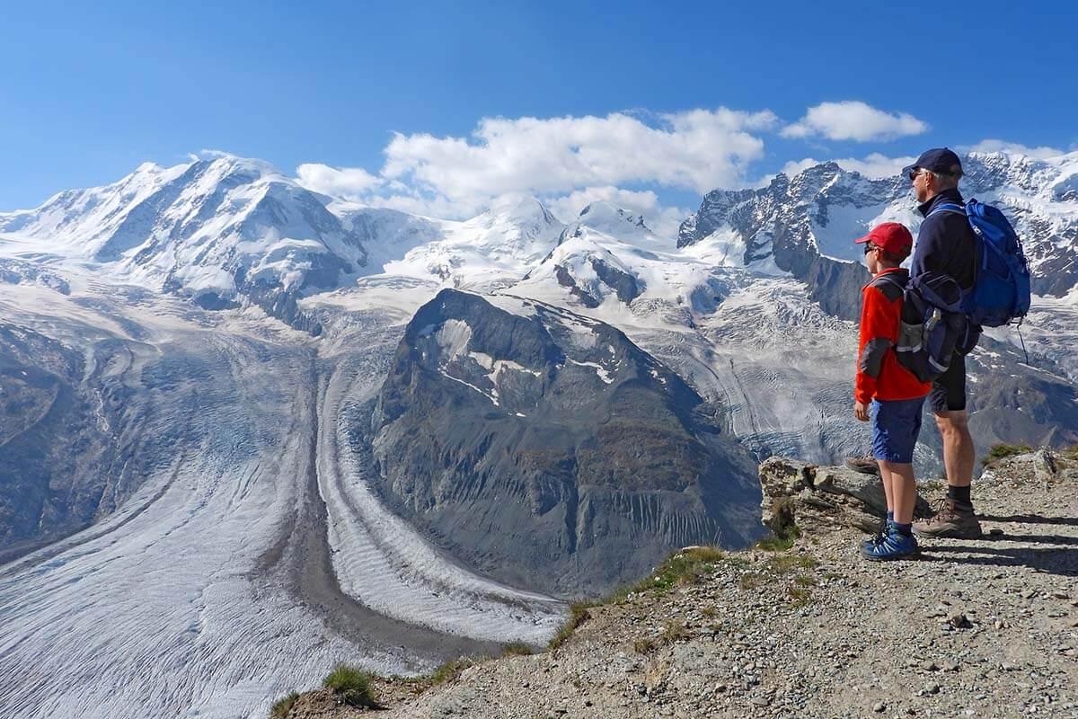 Admiring the view of the Gorner Glacier at Gornergrat Switzerland