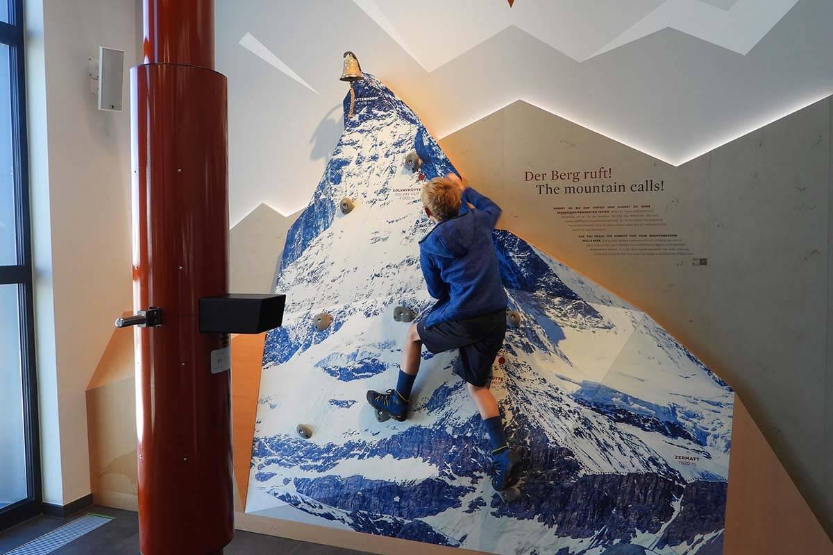 Gornergrat with kids - climbing the Matterhorn wall at the Zooom the Matterhorn experience