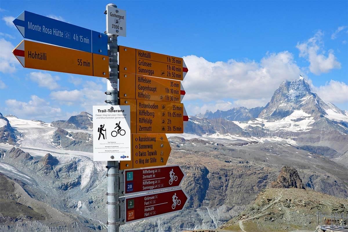Hiking signs at Gornergrat