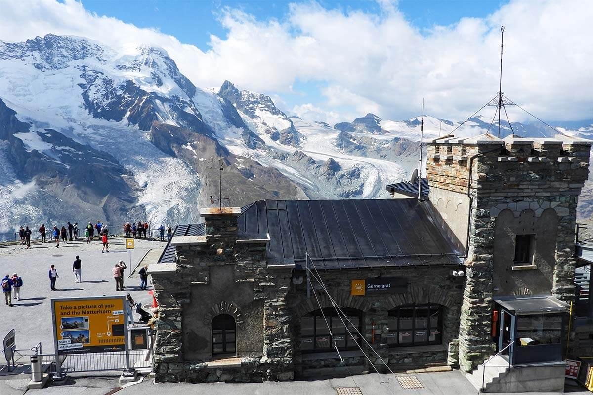 Matterhorn Photo Point sign at Gornergrat Railway Station