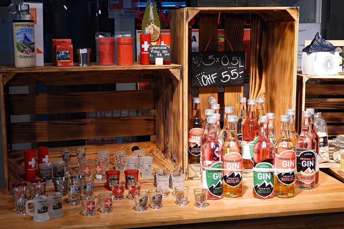 Swiss gin shop at Gornergrat hotel